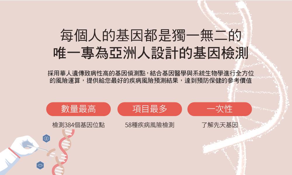 唯一專為亞洲人設計的基因檢測