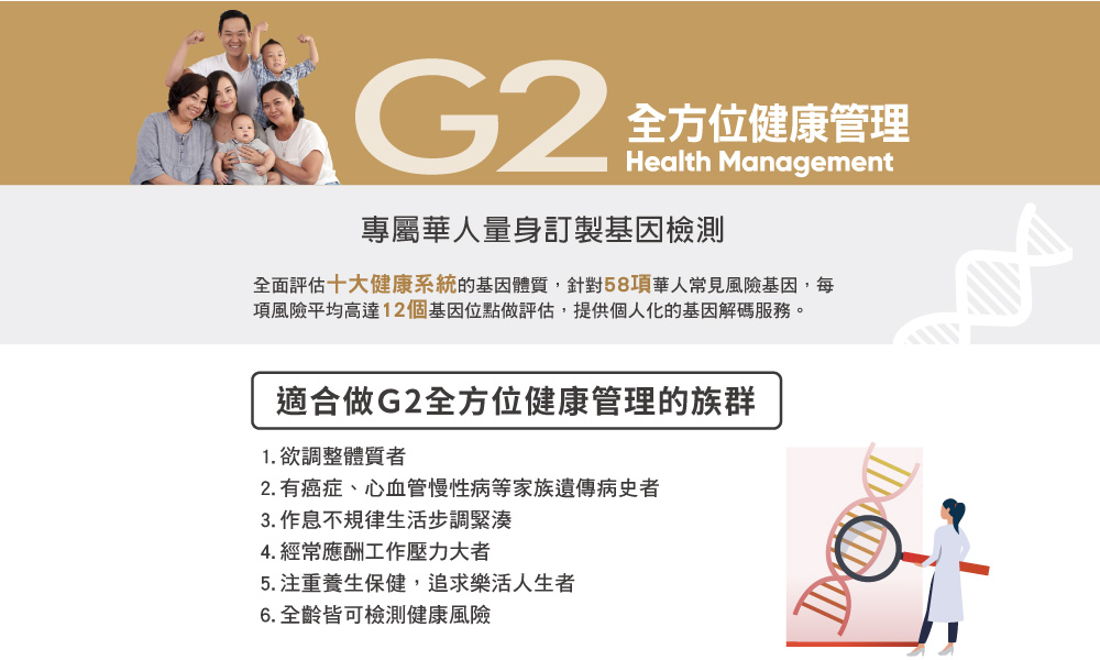 G2全方位健康管理 Health Management 專屬華人量身訂製基因檢測
