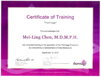 陳美齡醫師榮獲2012電波拉皮原廠認證
